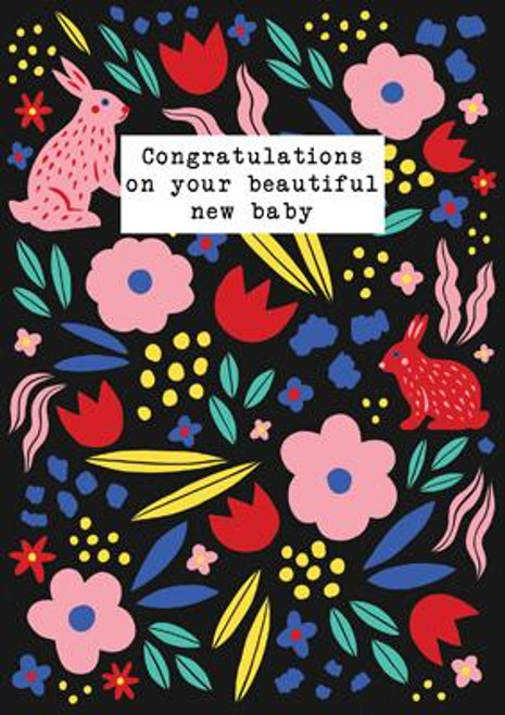 Beautiful New Baby (Rabbits) Greeting Card