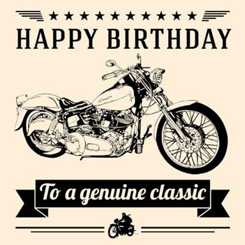 Genuine Classic (Motorcycle) Birthday Card
