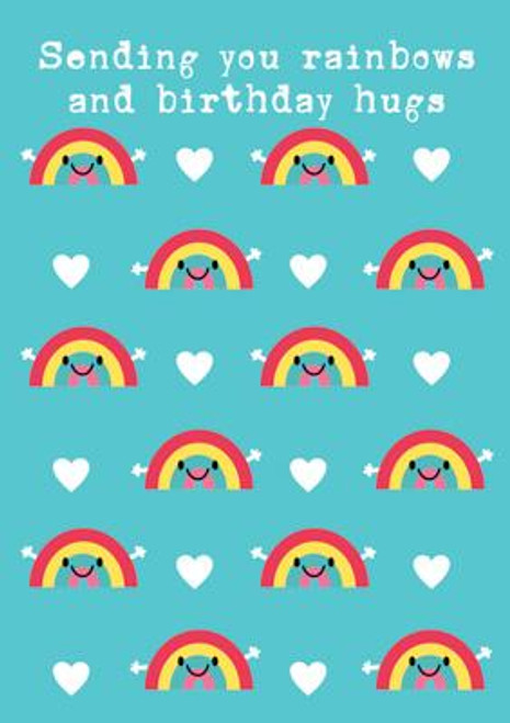 Rainbows and Hugs Birthday Card