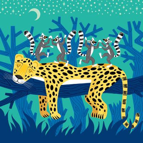 The Leopard and the Lemurs Greeting Card
