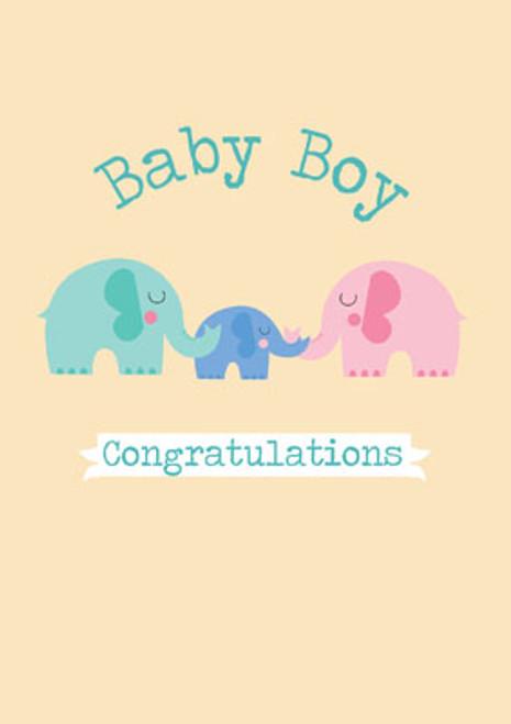Baby Boy Congratulations (Elephants) Greeting Card