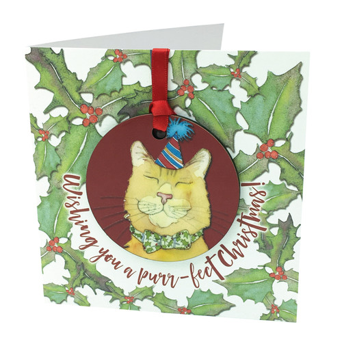 Christmas Cat Bauble Greetings Card