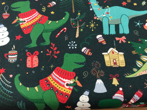 Dino Christmas Bash on Green 100% Cotton Fabric, 150cm/60in Wide, Sold Per HALF Metre