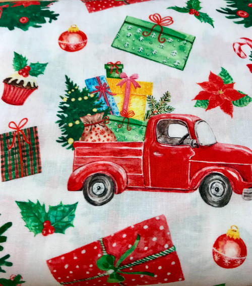Vintage Christmas on White 100% Cotton Fabric, 150cm/60in Wide, Sold Per HALF Metre