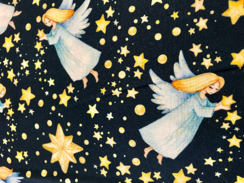 """Silent Night """"Angels on High"""" on Navy 100% Cotton Fabric, 150cm/60in Wide, Sold Per HALF Metre"""