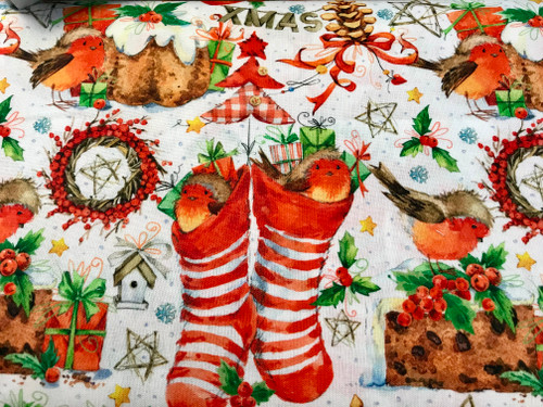 Christmas Party at the Robins House on White 100% Cotton Fabric, 150cm/60in Wide, Sold Per HALF Metre