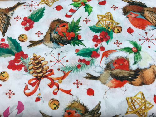 Christmas Robins with Bells on White 100% Cotton Fabric, 150cm/60in Wide, Sold Per HALF Metre