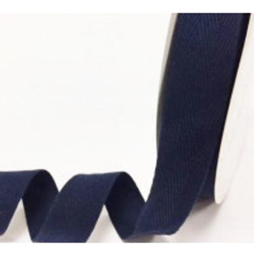 Navy 100% Cotton Twill Webbing, 40mm wide, Sold Per Metre