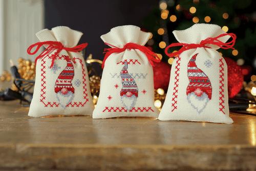 Counted Cross Stitch Kit: Pot-Pourri Bag: Christmas Elves: Set of 3
