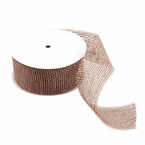 Brown Burlap Mesh Ribbon, 65mm Wide, Sold Per Metre