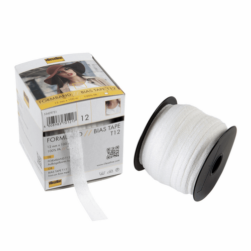 Vlieseline fusible Bias Tape -12mm width in White ( Sold by the Metre)