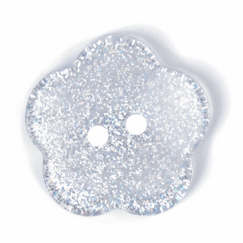 Clear Sparkle Flower Button - 24mm ( Sold Single)
