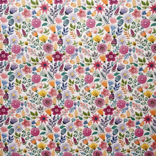 Tropical Flowers Print on Natural Linen-Look Panama Fabric, 139cm/55in wide, Sold Per HALF Metre