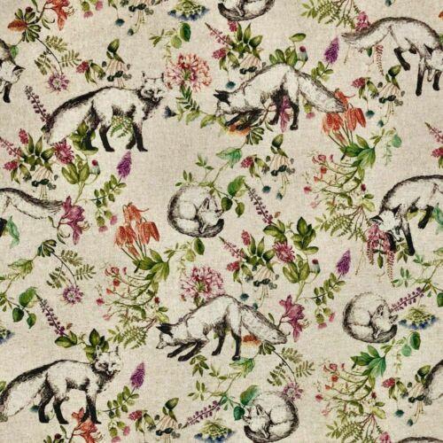 Botanical Fox Print on Natural Linen-Look Panama Fabric, 139cm/55in wide, Sold Per HALF Metre