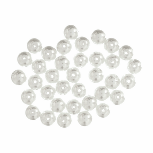 White Pearl Glass Beads, 8mm Diameter (Sold Per Pack)