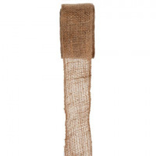 Natural Burlap Ribbon with Stitched Edge, 63mm Wide, Sold Per Metre