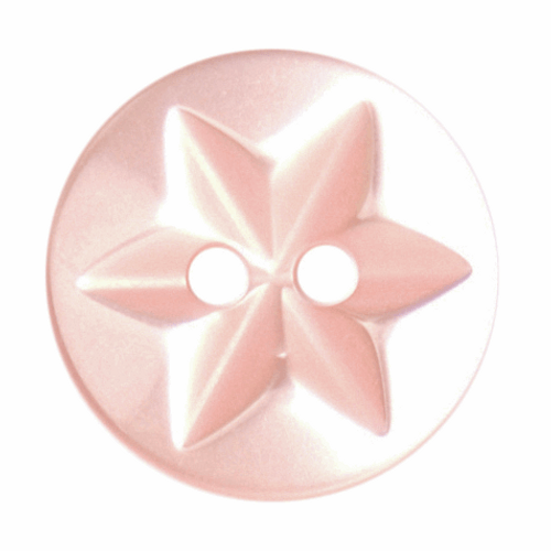 Pink Star Button, 15mm (9/16in) Diameter (Sold Individually)