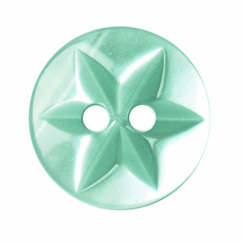 Green Turquoise Star Button, 15mm (9/16in) Diameter (Sold Individually)