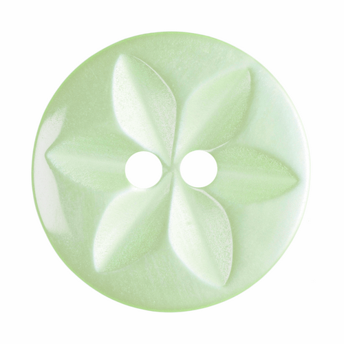 Pale Green Star Button, 16mm (5/8in) Diameter (Sold Individually)
