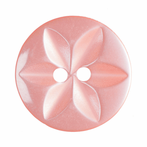 Salmon Pink Star Button, 16mm (5/8in) Diameter (Sold Individually)
