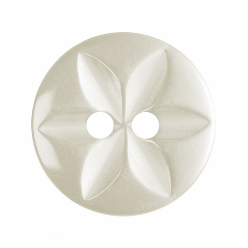 Cream Star Button, 16mm (5/8in) Diameter (Sold Individually)