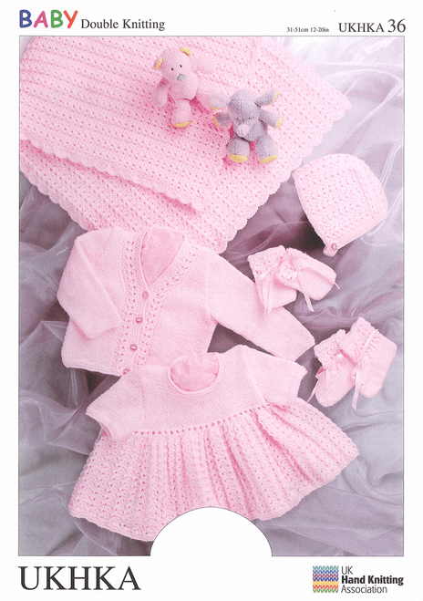 UKHKA 36Double Knitting: Shawl/Cardi, Dress, Hat, Mitts & Bootees