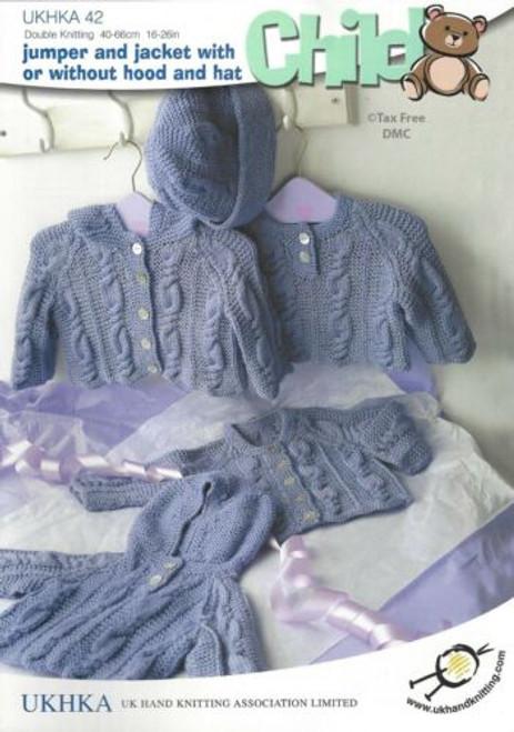UKHKA 42 Baby Cable Jumper Hooded Jacket Cardi Hat DK Yarn Knitting Pattern
