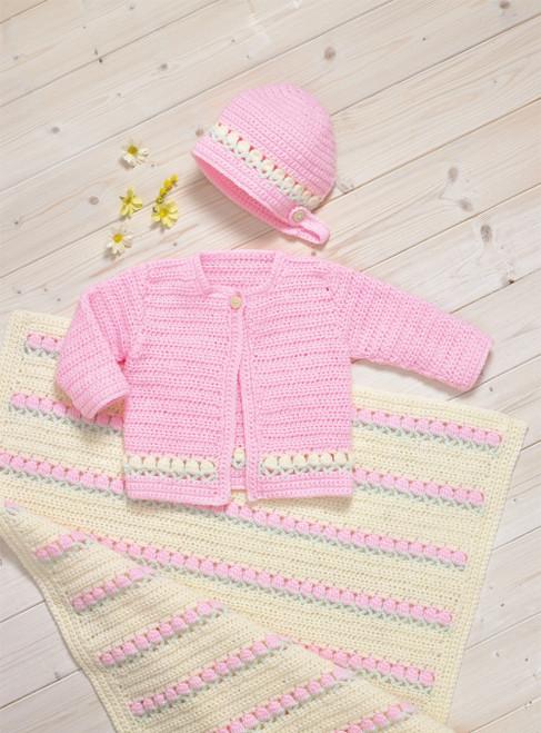 JB701 - Double Knit Cardigan, Bonnet & Blanket - Crochet