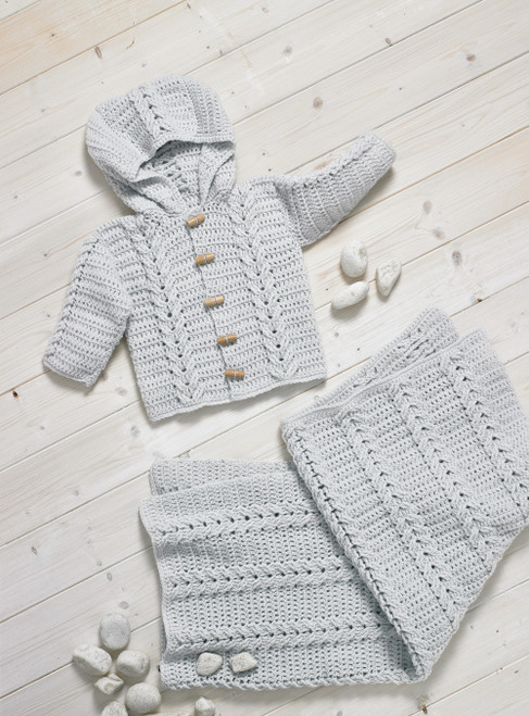 JB702 - Double Knit Hooded Jacket & Blanket- Crochet