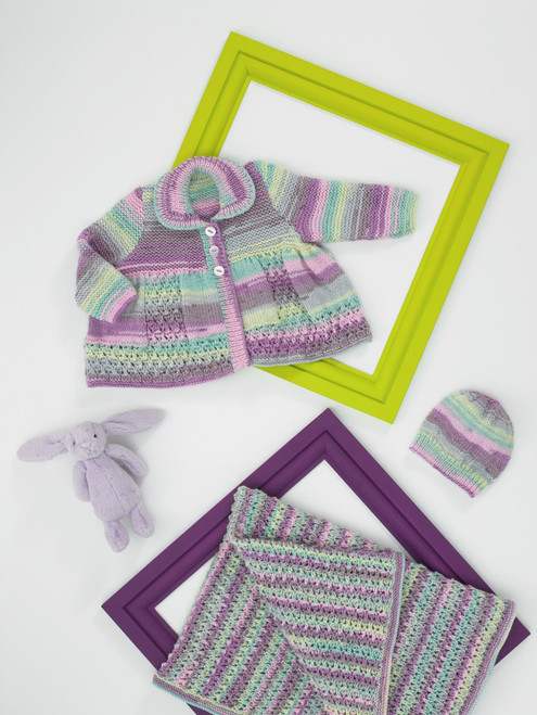 JB683 - Double Knit Matinee Coat, Hat & Blanet