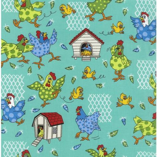 Farm Fun - Chickens 100% Cotton Fabric, 112cm/44in wide, Sold Per HALF Metre