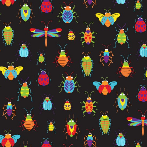 Bugs & Critters on Black 100% Cotton 112cm/44in wide, Sold Per Half Metre