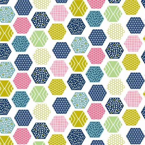 Wildflower Honey- Hexagon Multi  -100% Cotton 112cm/44in wide, Sold Per Half Metre