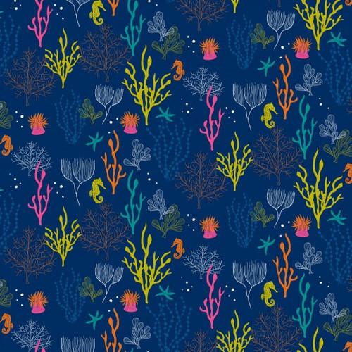 Ocean Life On Blue - 100% Cotton 112cm/44in wide, Sold Per Half Metre