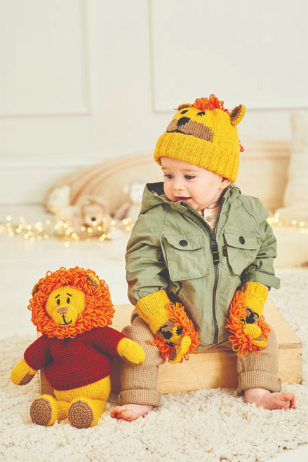 9868 -Rory the Lion Toy, Hat & Mittens - 6mths to 5 Years