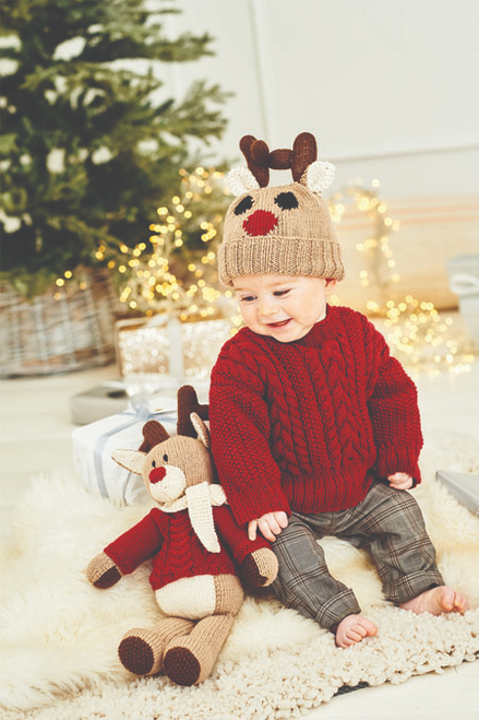 9869 - Reindeer Sweater, Hat & Toy in Dk - Birth to 5 years