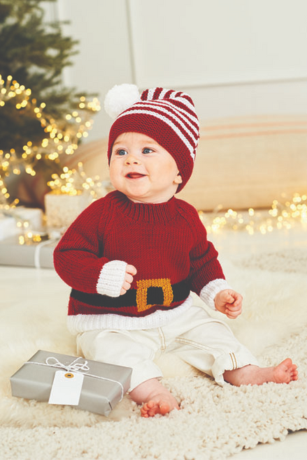 9870 - Santa Toy, Hat & Sweater In Dk -Birth to 5 years
