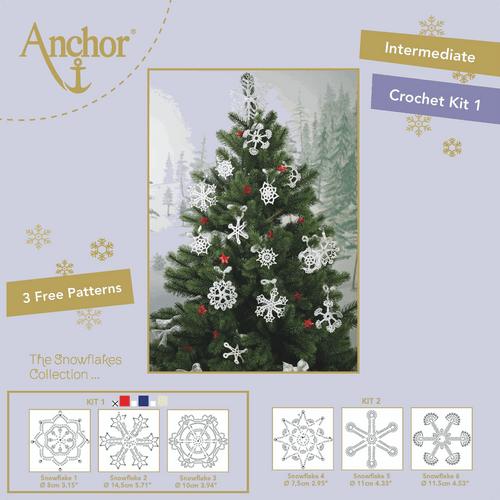 Crochet Snowflakes - kit  in 3 designs -  Red/Metallic Red