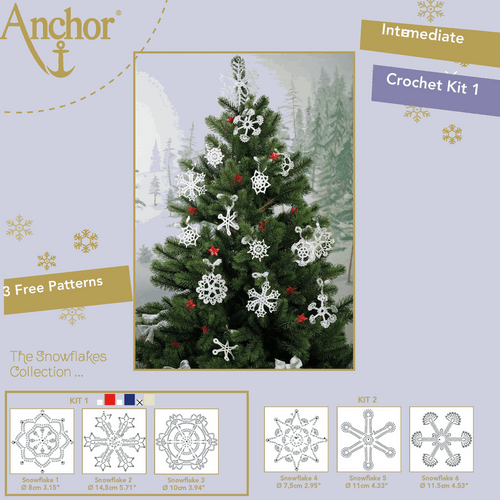 Crochet Snowflakes - kit  in 3 designs -in  White/Gold