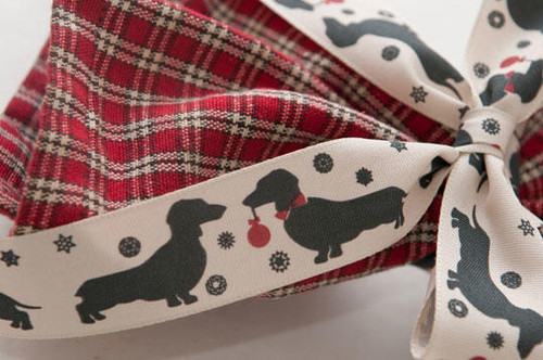 Sausage Dog 25mm Christmas Ribbon- Sold by the Metre