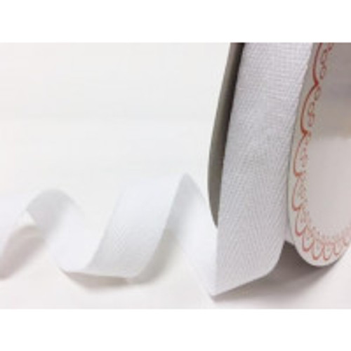 White 100 % Cotton Twill Webbing, 25mm wide, Sold by the Metre