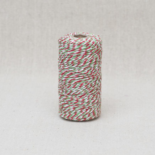 Bakers Twine in Red/ Green & White - 2mm ( Sold By the Metre)