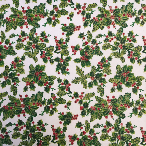 All Over Holly Cream -( 100% Cotton) 140cm/55in wide, Sold Per HALF Metre