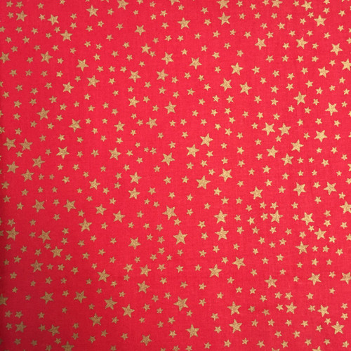 Gold Stars on Red-( 100% Cotton) -140cm/55in wide, Sold Per HALF Metre