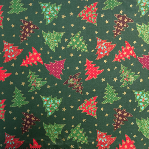Christmas Trees Green ( 100% Cotton) -140cm/55in wide, Sold Per HALF Metre