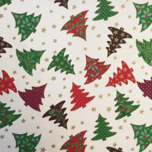 Christmas Trees Cream ( 100% Cotton) -140cm/55in wide, Sold Per HALF Metre