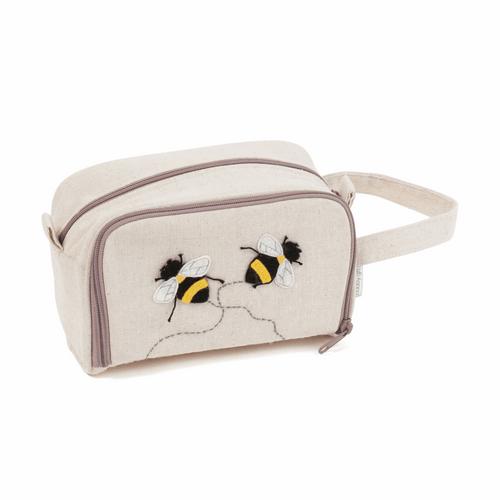 Crochet needle Bag with zip ( Bee Motif)