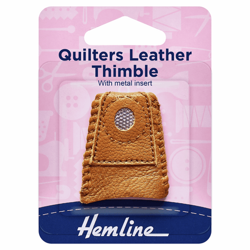 Hemline Multi-Use Leather Thimble With Metal Inset