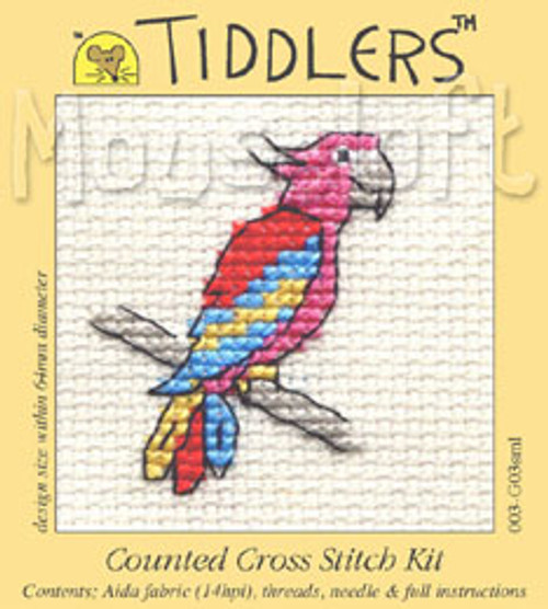 Red Parrot Tiddlers Cross Stitch Kit