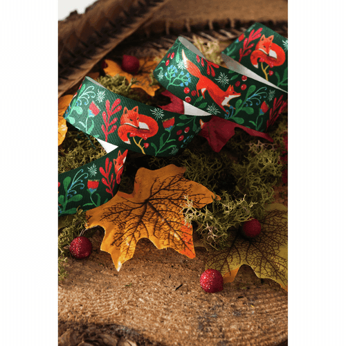 Vintage Fox Friends on Rich Green & Red Ribbon -25mm Width  ( Sold by the Metre)